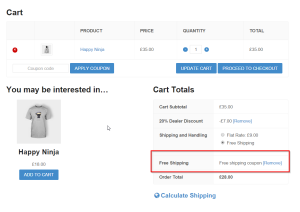 Example cart with free shipping